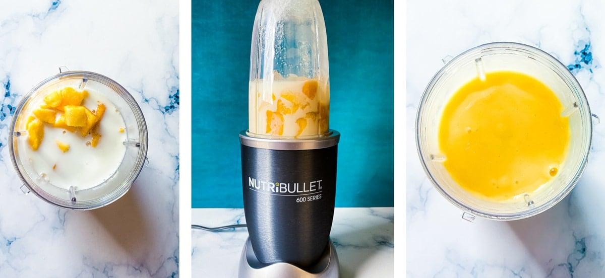 Process shots for making mango milkshake.