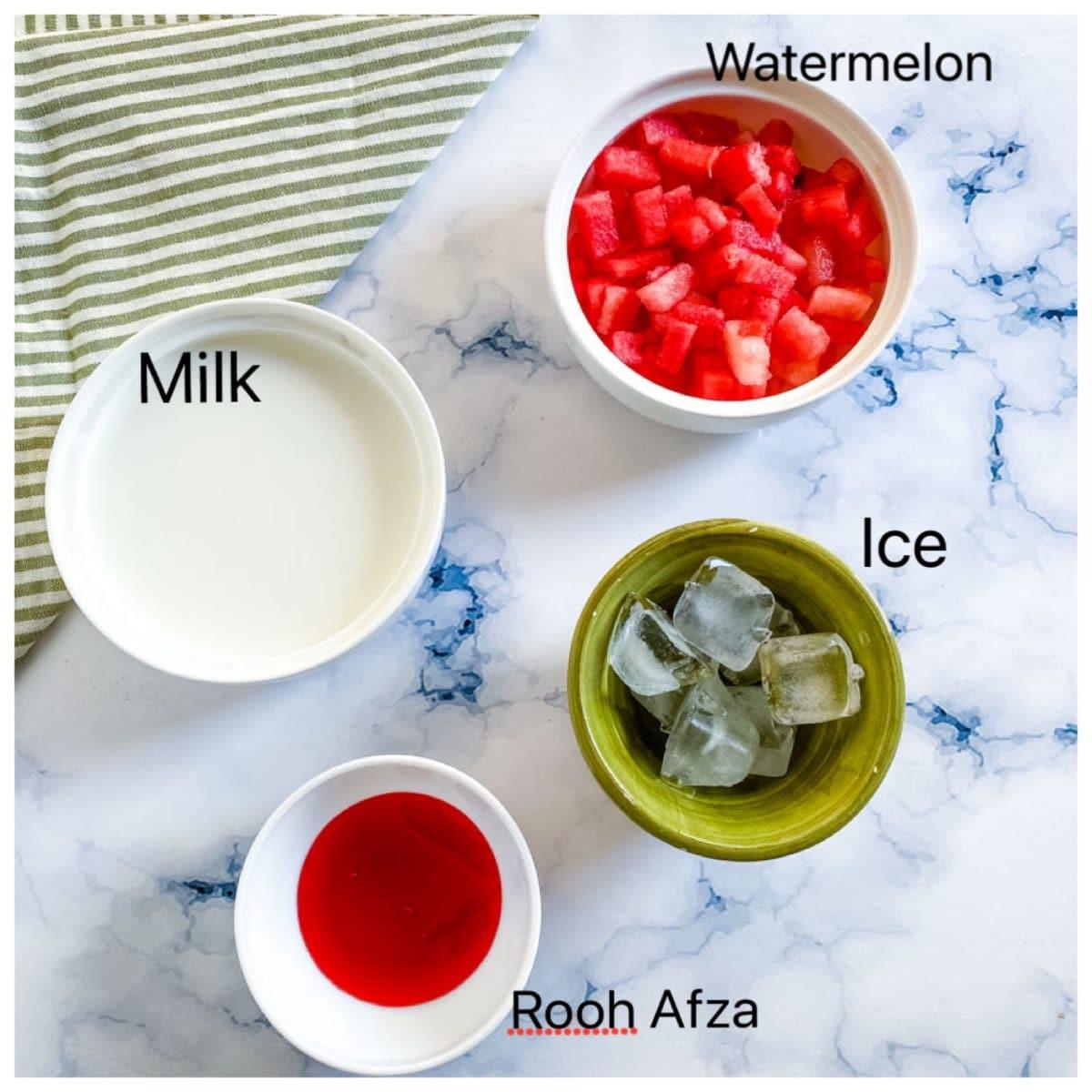 Ingredients for Mohabbat ka Sharbat