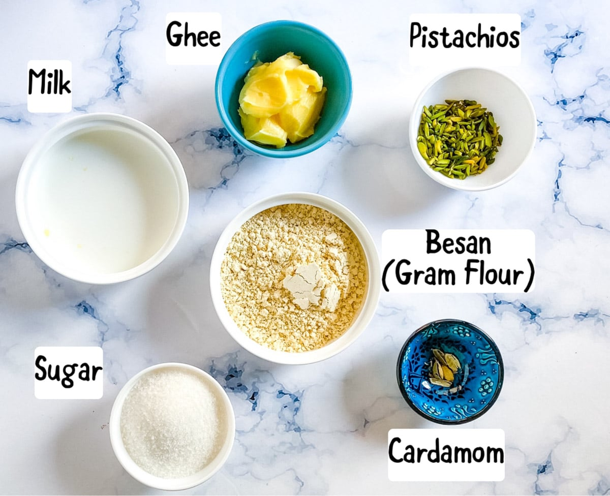 picture of ingredients needed to make basan halwa: ghee, milk, chickpea flour, pistachios, cardamom, and sugar.