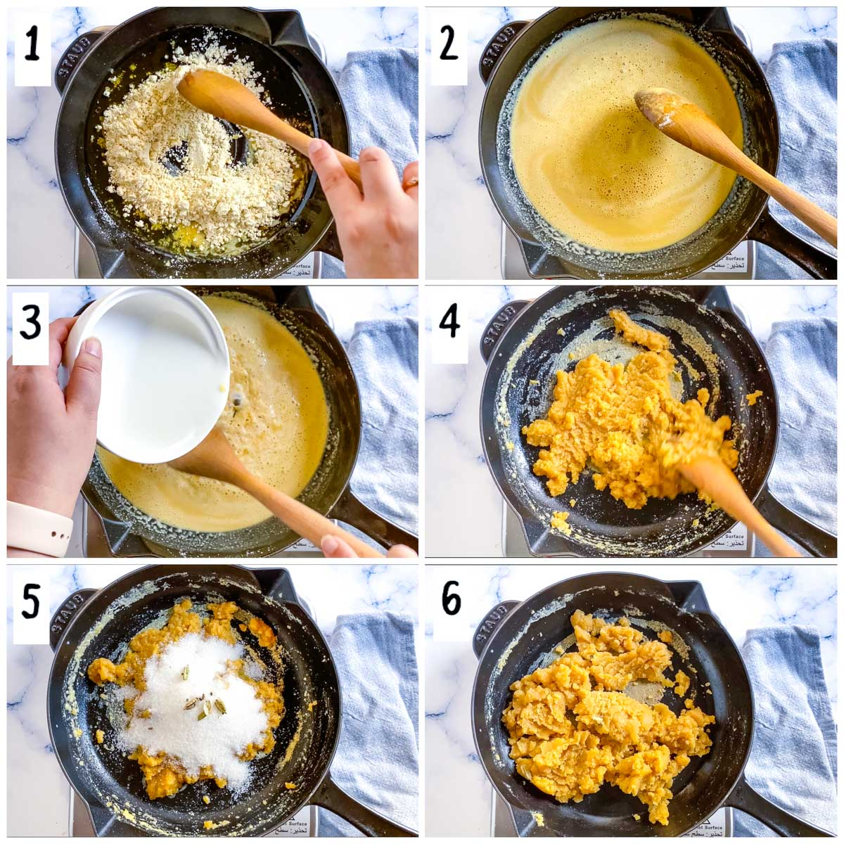 A collage of step by step pictures on how to make chickpea flour halwa.