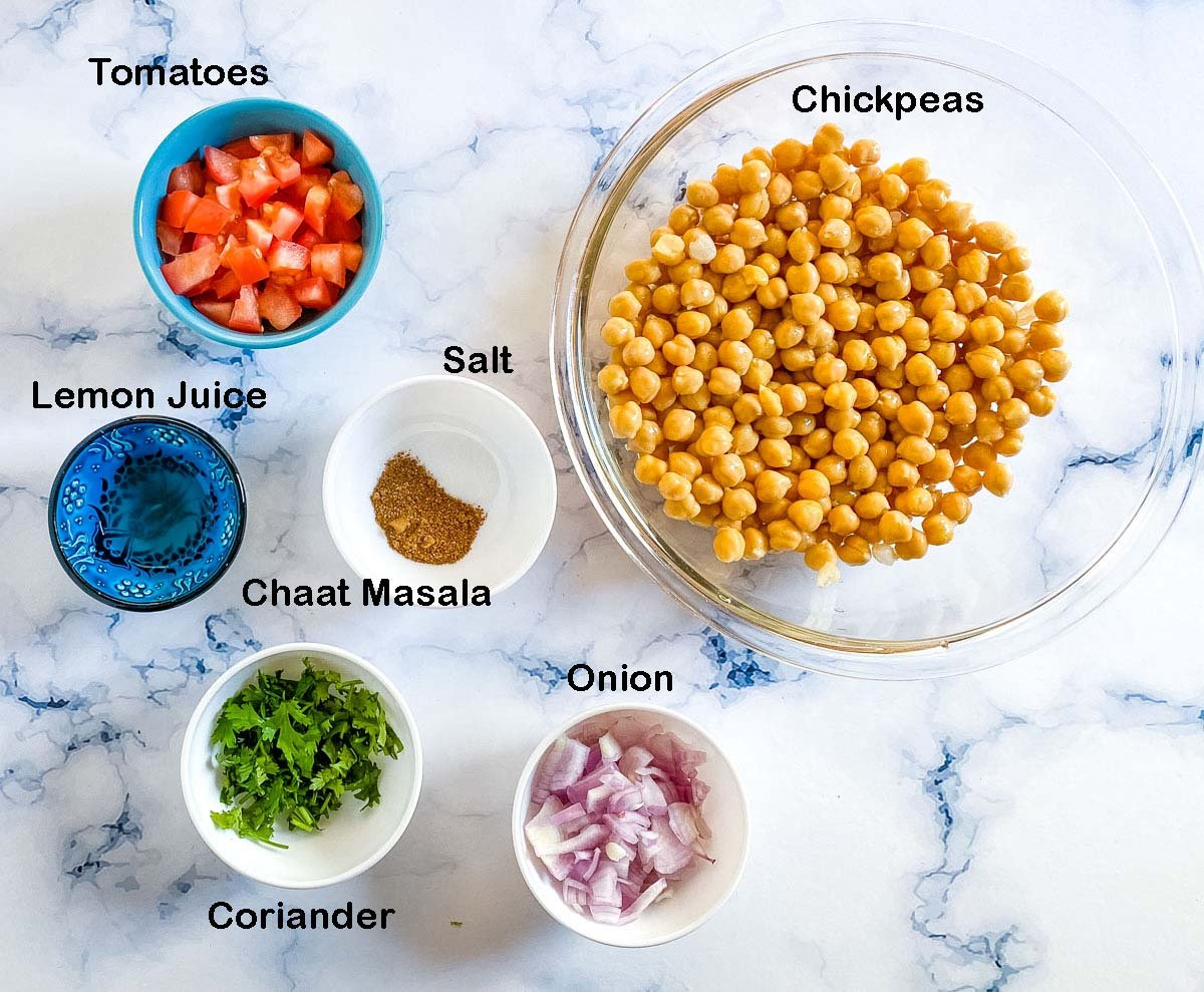 picture of ingredients needed to make chana chaat