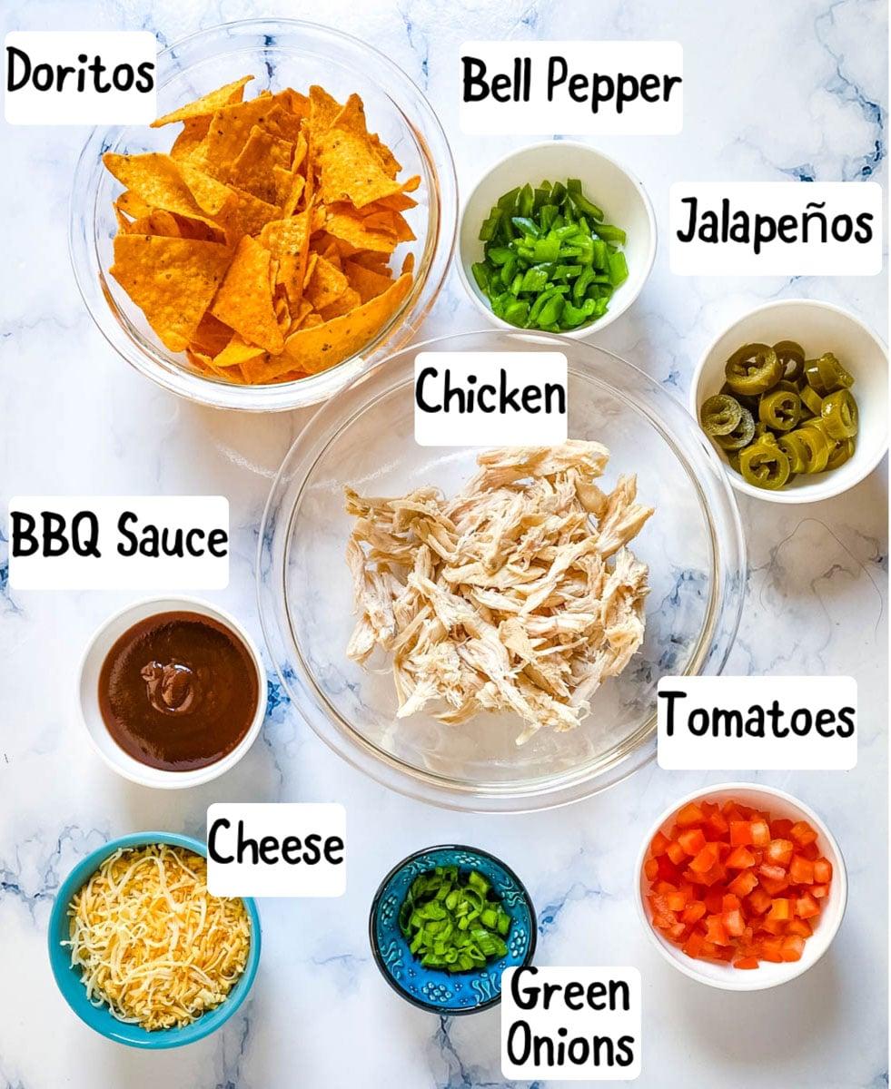 Ingredients needed for making Dorito nachos.