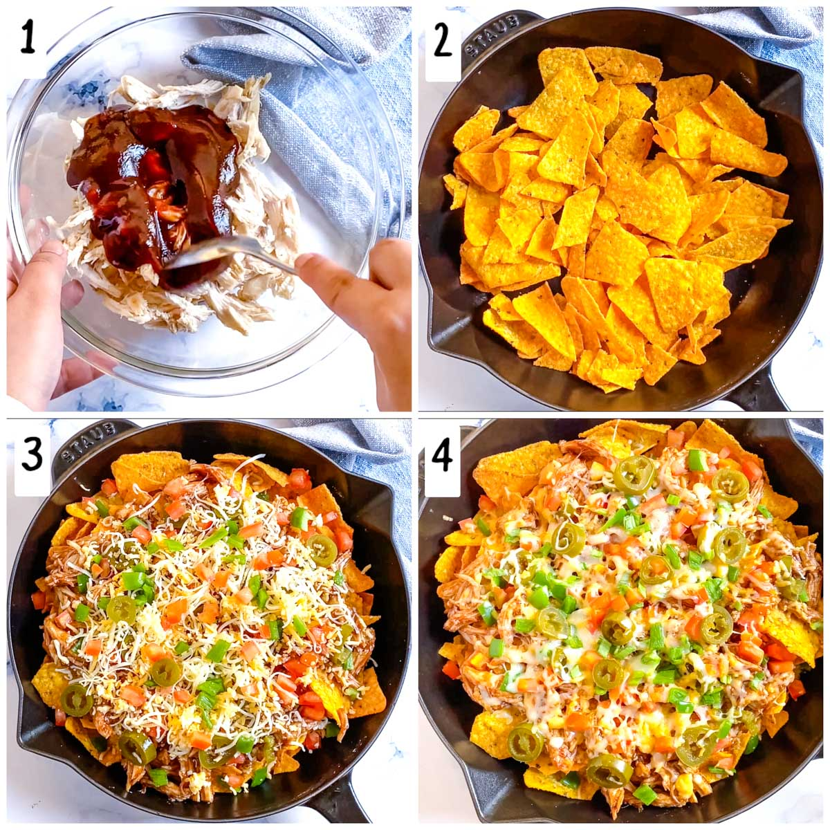 A collage of step by step pictures to make bbq chicken nachos.