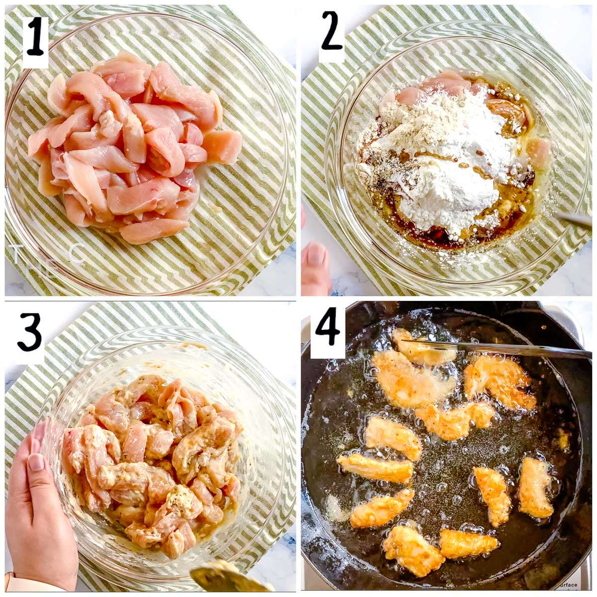 step by step photos of marinating and frying the chicken.