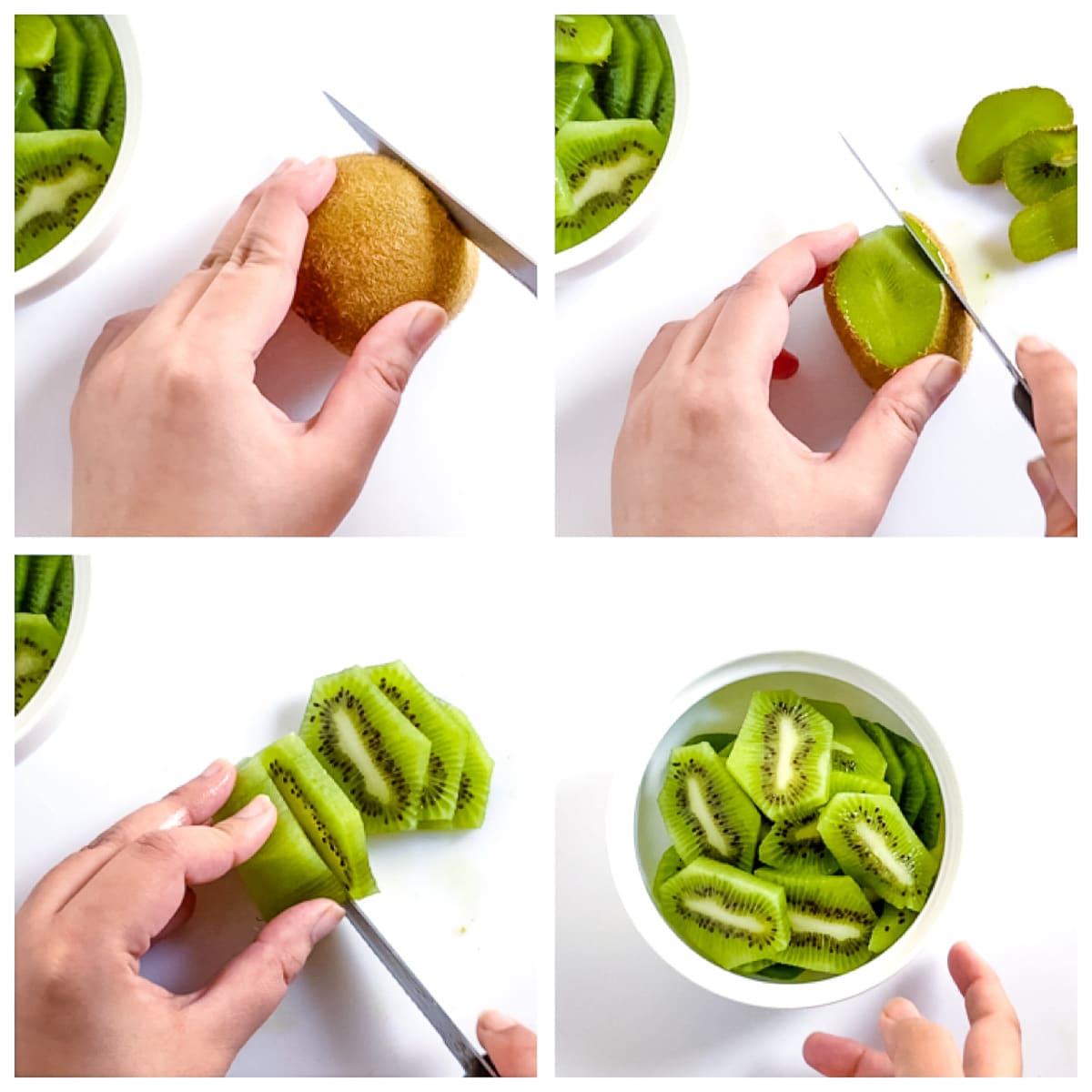 steps to peel and chop a kiwi.